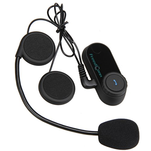 Freedconn FDC02 Moto Intercom Oreillette Bluetooth Plug Casque de Moto Interphone 800M Noir EU