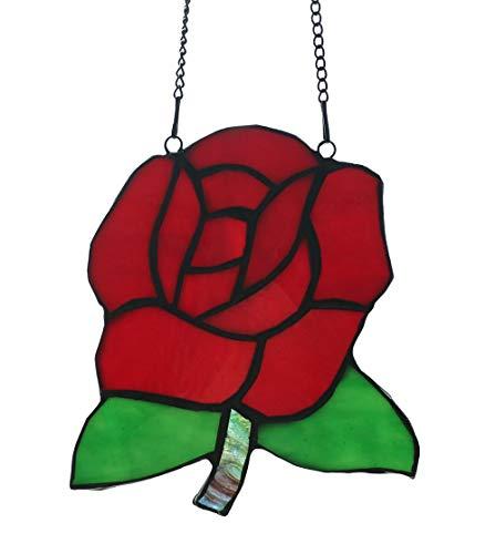 Tiffany-stil-rote Rose (FBOSS Sun Catcher for Window Fenster Mit Tiffany-Stil, Suncatcher Gebeizt Glas Rote Rose Sonnenfänger Garten 14 * 12.5 cm)