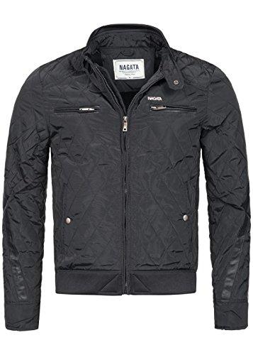 Nagata Herren Jacke 70171102, Diamond Stepp, Stehkragen, 2 Brust-Zipper, schwarz, Gr:L