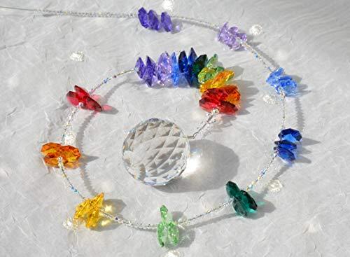 NEU! Sonnenfänger 'Rainbow', Länge 78 cm, handgearbeitet aus funkelnden Kristallen von Swarovski®, Geschenk Weihnachten, Hochzeit, Einzug, Jubiläum, Geburtstag -