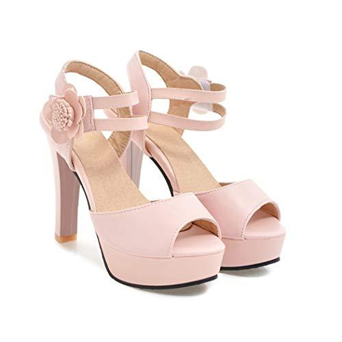 Mzq-yq Peep Toe High Heels, Elegant Women es Sandals Waterproof Platform und Solid Color Flowers Velcro Damenschuhe,Pink,34 (Sandal Flower Pink)