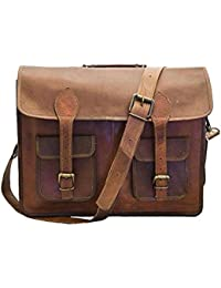 15 Inch Vintage Handmade Leather Messenger Bag For Laptop Briefcase Satchel Bag By Tech Green Inc.