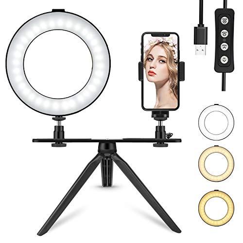 """6\""""Tenswall LED-Ringlicht + Stativhalterung und Handyhalterung,360 ° LED-Mini-Schreibtischleuchte mit 3 Lichtmodi und 11 Helligkeitsstufen für Live-Übertragung,YouTube Video Shooting,Selfie und Makeup"""