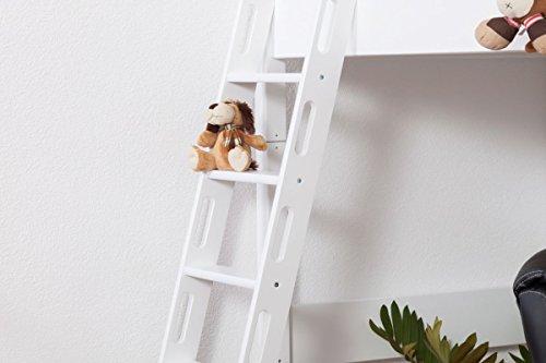 Hochbett Patrick Buche Vollholz massiv weiß lackiert mit Schreibtischplatte, inkl. Rollrost – 90 x 200 cm