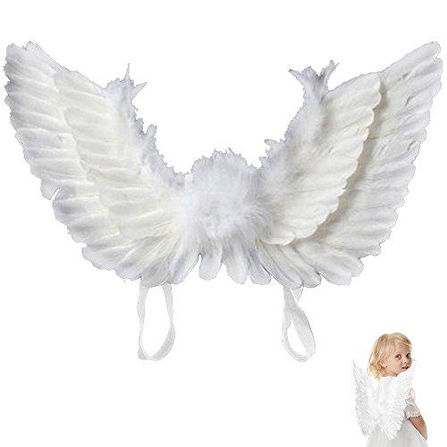Engel Flügel Engelsflügel aus Federn Damen Kinder Engel Fee Flügel Kostüm für Weinachten Halloween Party Karneval Dekoration Cosplay (Kinder, - Kinder Engelsflügel Für