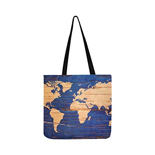 Weltkarte auf birke cork natürliche leinwand tote handtasche umhängetasche crossbody taschen geldbörsen für männer und frauen einkaufen tote -