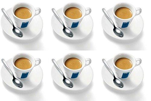 6 X Lavazza Espresso Coupes Porcelaine et soucoupes des capacités cc 75, height mm 58