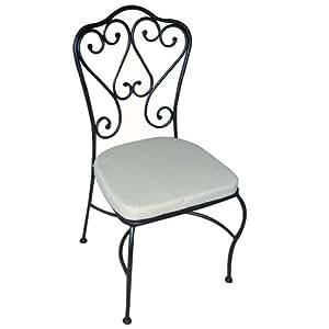 Sedia in ferro battuto con cuscino confezione da 2 pz da for Panchina ferro battuto amazon