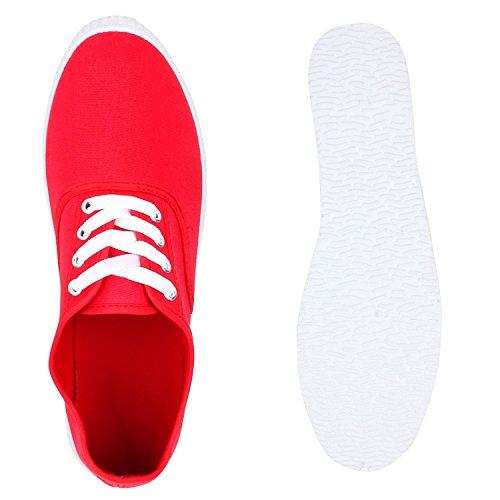 Basic Damen und Herren Sneakers | Komfortable Begleiter für jeden Tag| Bequeme Gummisohle |Gr. 36-45 Total Rot