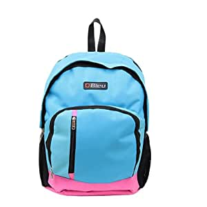 Amazing Sky Blue & Pink Color School Bag (Large, 17 Inches)