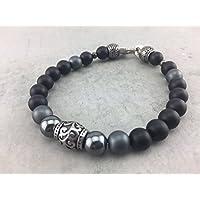 Armband Perlenarmband im Businessstyle Businessoutfit Edelstahl schwarz black matt Perlen Herren Männer Damen Frauen A_23