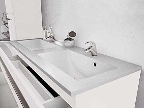 Waschtischunterschrank 120 cm breit weiß Hochglanz Doppel-waschtisch Doppel-waschbecken Waschbeckenunterschrank Unterschrank Badmöbel-Set hängend Sieper Libato (120cm, weiß) - 2