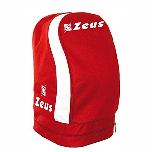 Zeus ZAINO ULYSSE BORSA A SPALLA CALCIO CALCETTO BASKET PISCINA TENNIS SPORT 33 X 30 X 52 cm (ROSSO-BIANCO)
