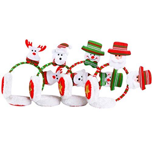 ät Winter Adult Kids Cute Santa Claus/Snowman/Bear/Elk Decor Earmuffs Christmas Party Headband Gifts 4pcs (Cute Christmas Party Outfits)