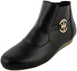 Richiee Girls Black Synthetic Boot (1523-101Black_39, Size - 39)