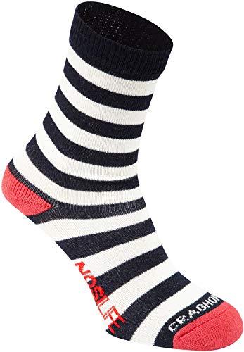 Trocken Twin-packs (Craghoppers NosiLife Travel Socks Kids Twin Pack Soft Navy/Watermelon Plain & Stripe Schuhgröße 11-2   EU 29-35 2019 Socken)