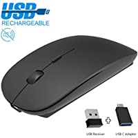 Mouse wireless ricaricabile, 2,4GHz, con ricevitore USB Nano e adattatore USB-C, mouse ottico per PC, laptop, iMac, MacBook, Microsoft Pro, Office Home
