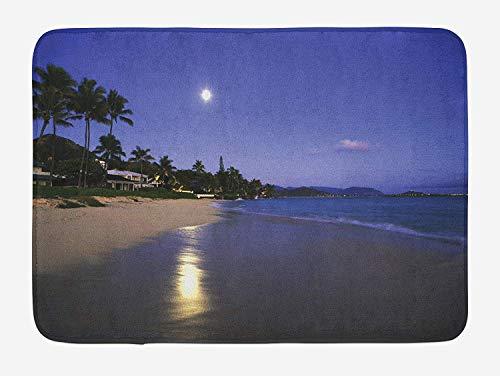 tgyew Hawaiian Bath Mat, Houses Clear Sky Full Moon Reflection at Daybreak on a Hawaii Beach Exotic Life, Plush Bathroom Decor Mat with Non Slip Backing, 23.6 W X 15.7 W Inches, Navy Sand -