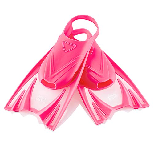 Aqua Speed Trainingsflossen weich für Kinder I Kurze Flossen rosa I Schwimmflossen I Kurzflossen Mädchen Kind I Schwimmbadflossen I Schnorcheln I Training I Pink, Gr. 25-29 (S) I Frog