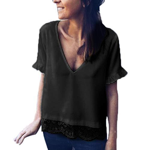 BfmyxgsV-Ausschnitt Spitze der Art und Weisefrauen festes kurzärmliges beiläufiges Hemdhemd sexy Sommer ()