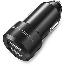 Cargador de Coche RAVPower 24W 4.8A Dual USB, Adaptador Automóvil con Tecnología iSmart, Funda de Material de Aluminio, para iPhone, iPad, Samsung Galaxy, LG Nexus y Más – Negro