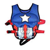WISHKEY Captain America Character Training Life Jacket Swim Aid Floater Life Vest ,Kids
