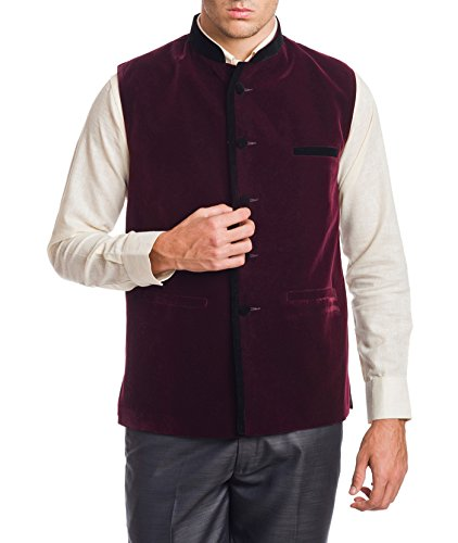 Wintage Men's Velvet Bandhgala Festive Dark Maroon Nehru Jacket Waistcoat
