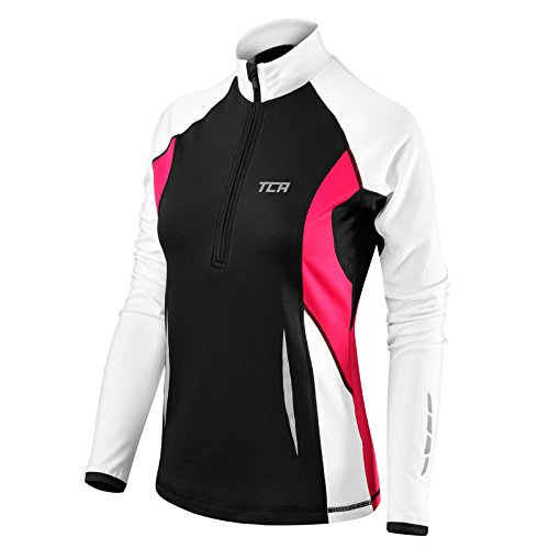 Thorogood Sports Winter Run - Damen Langarm-Laufshirt mit kurzem Reißverschluss - Schwarz/Weiß - XL (Damen Rosa Radfahren T-shirt)