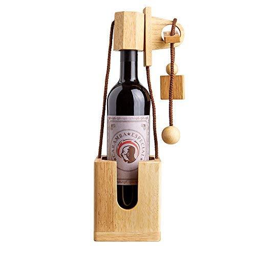 Puzzle casse-tête bouteille en bois - Vin - Idée cadeau d'anniversaire - Noël - Saint Valentin - Bois naturel - Original et humoristique - Emballage - Paquet cadeau