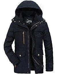 Winterjacke Herren Parka Gefüttert Baumwolle Mantel mit Pelzkragen Jacke Warm Outdoor Kapuzenjacke mit Fell, Blau, Gr. XS