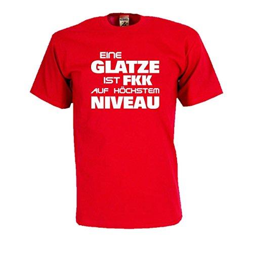 Eine Glatze ist FKK auf höchstem Niveau, lustiges Sprüche T-Shirt mit witzigem Druck, cooles Freizeitshirt oder Geschenk für gute Freunde (FS088) 5XL