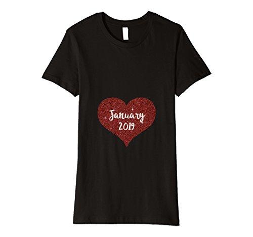 Damen Damen Januar 2019Schwangere Reveal werdende Mom Shirt Geschenk