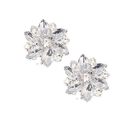 Chinashow Mode Strass Kristall Schuhclips - abnehmbare Metall Edelstein Schuh Ornament Dekorationen Brosche Schmuck Clips 2 Pc (Transparent Weiß) - Clip Pc