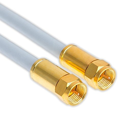 1m Sat Koax Kabel Digital TV 5-Fach 135dB F-Stecker VERGOLDET Antennenkabel Class A+ Ultra HD 4K 3D Koaxial Satelliten Kabel (1m, Weiß)