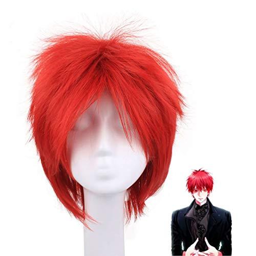 Kurze gerade Perücke für Männer, Kuroko Basketball Akashi Seijuro Cosplay Anime Perücke keine Spitze rot flauschigen Haarteil Kunsthaar Perücke für Kostüm Halloween Kostüm Party + Perücke Kappe