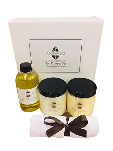 Herren Pamper Geschenk Set Zedernholz & Zitrone Beinhaltet Rasieröl, Körperpeeling und Badesalz