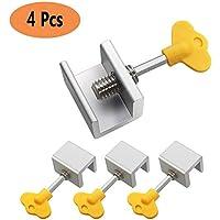 Topes de bloqueo de ventana corredera de aleación de aluminio para puerta de seguridad con llave para el hogar y la oficina 4 paquetes