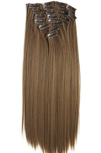 PRETTYSHOP XL 7 Teile Set Clip in Extensions 60cm Haarverlängerung Haarteil glatt mittelbraun #12 CE12