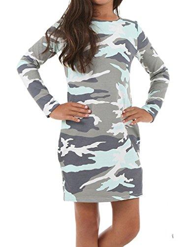 Dykmod Mädchen Kleid Schlauchkleid Camouflage Muster Herbst Schule hk281 140, Minze