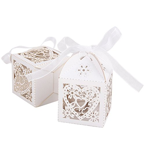 Tinksky scatole bomboniera 50 pezzi matrimonio favore scatole caramella con nastri(bianco)