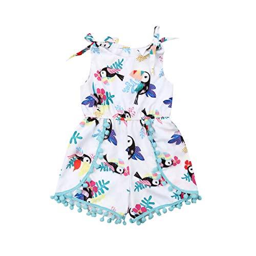 CIPOGL Neugeborene Baby Mädchen Kleidung Cartoon Vögel Drucken Quaste Strampler Spielanzug Strampler Sommer Bodys Einteiler Babykleidung Outfits (9-12 Monate, Weiß)