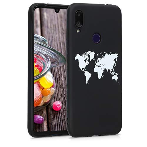 kwmobile Funda para Xiaomi Redmi Note 7 / Note 7 Pro - Carcasa de TPU para móvil y diseño de Mapa del Mundo en Blanco/Negro