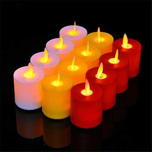 Juego de 12 Velas oscilantes LED de plástico amarillo sin llama, Velas electrónicas de llamas en movimiento.