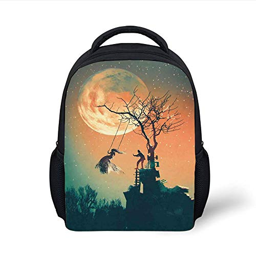 Kids School Backpack Fantasy World,Spooky Night Zombie Bride and Groom Lady on Swing Under Starry Sky Full Moon,Orange Teal Plain Bookbag Travel Daypack