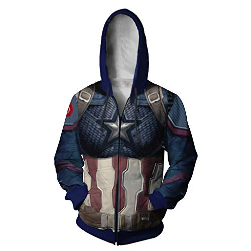SDKHIN Captain America 3D Digitaldruck Hoodie Cosplay Jacke Unisex Sweater Zipper Kapuzenjacke Four Seasons Hooded Zipper Shirt,Blue-XL (Four Halloween-kostüme Seasons)