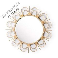 Idea Regalo - Black Velvet Studio Specchio, Flor Rattan, Color Naturale. Rotonda a Forma di Fiore. Stile Nordico. 56x56x2 cm.