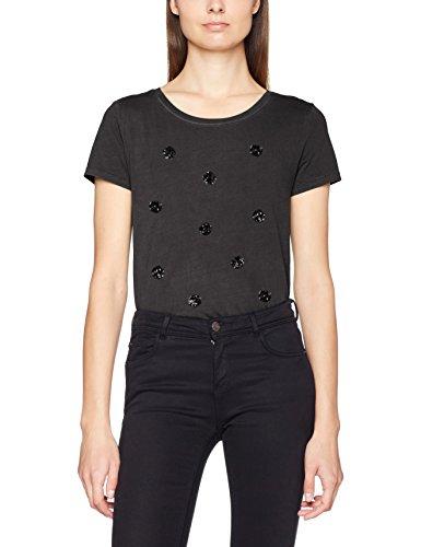 ONLY Damen T-Shirt Onlnikko S/S Army/Dots Top Box Ess Schwarz (Black Print:Dots (Black)), 38 (Herstellergröße: M) (Front-print-bluse)