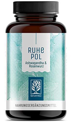 Ashwagandha Rosenwurz Kapseln hochdosiert - 500mg Ashwagandha + 500mg Rhodiola Rosea - Vegan - 120 Kapseln - Pflanzlich und ohne Zusätze - Ruhepol -