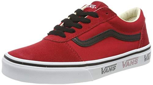 Vans Unisex-Kinder Ward Suede/Canvas Sneaker , Rot ((Vans Sidewall) Tango Red/Black Vwn) , 32 EU
