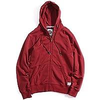 Invierno, invierno, mens Hooded Zip Hoodie sweater puro deporte de moda,Un clarete,XXL